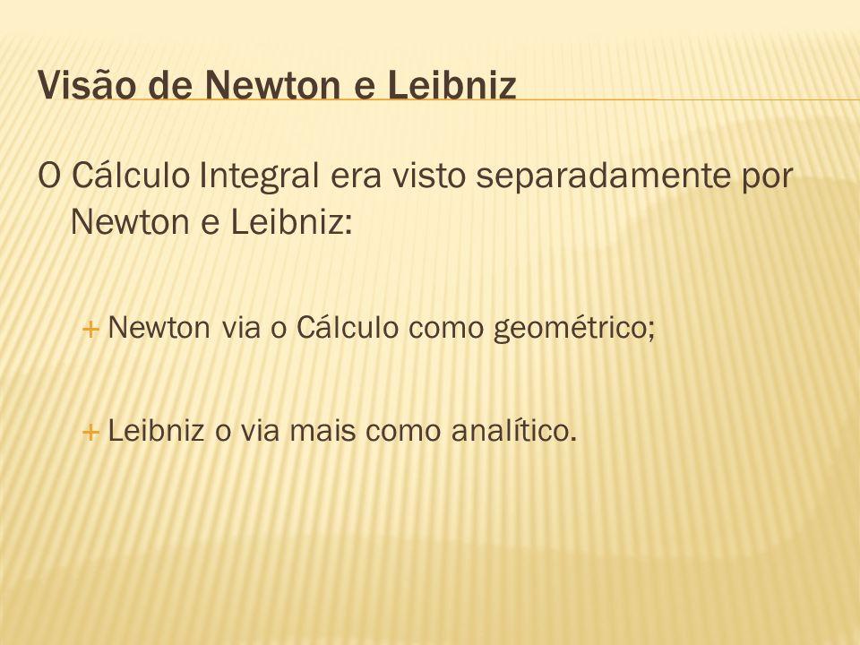 Visão de Newton e Leibniz O Cálculo Integral era visto separadamente por Newton e Leibniz: Newton via o Cálculo como geométrico; Leibniz o via mais co