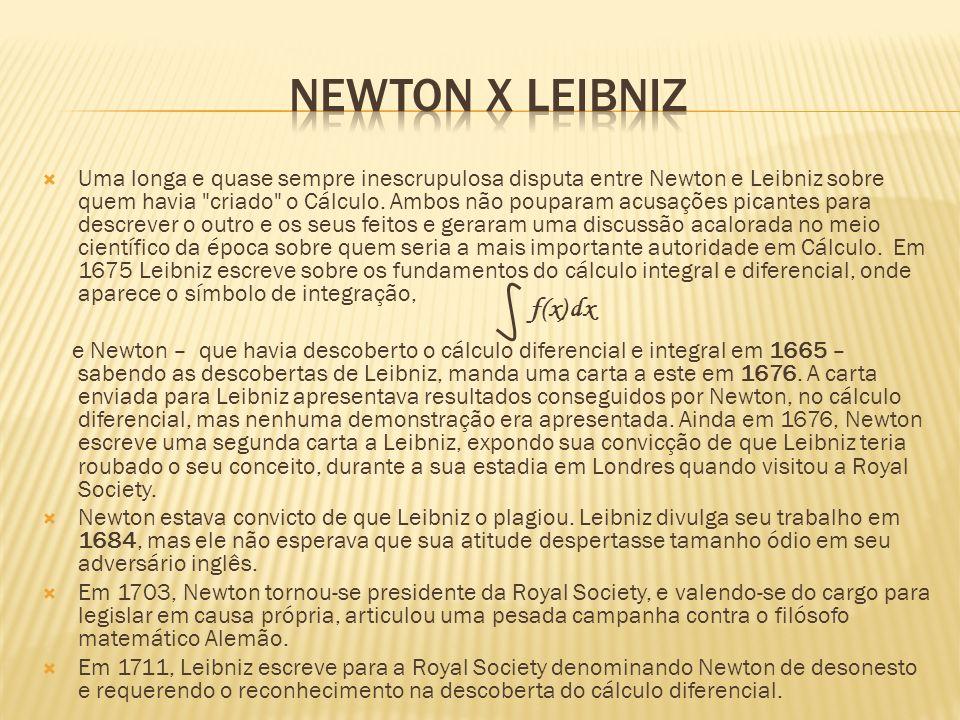 Uma longa e quase sempre inescrupulosa disputa entre Newton e Leibniz sobre quem havia