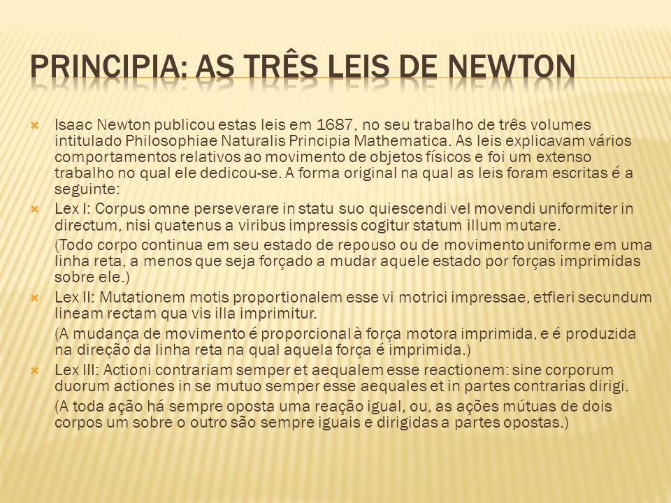 Isaac Newton publicou estas leis em 1687, no seu trabalho de três volumes intitulado Philosophiae Naturalis Principia Mathematica. As leis explicavam