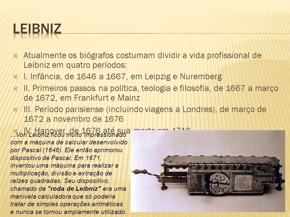 Atualmente os biógrafos costumam dividir a vida profissional de Leibniz em quatro períodos: I. Infância, de 1646 a 1667, em Leipzig e Nuremberg II. Pr
