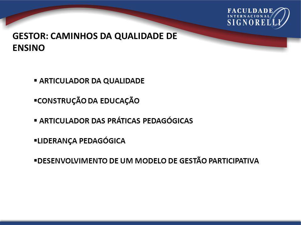 GESTOR: CAMINHOS DA QUALIDADE DE ENSINO ARTICULADOR DA QUALIDADE CONSTRUÇÃO DA EDUCAÇÃO ARTICULADOR DAS PRÁTICAS PEDAGÓGICAS LIDERANÇA PEDAGÓGICA DESE