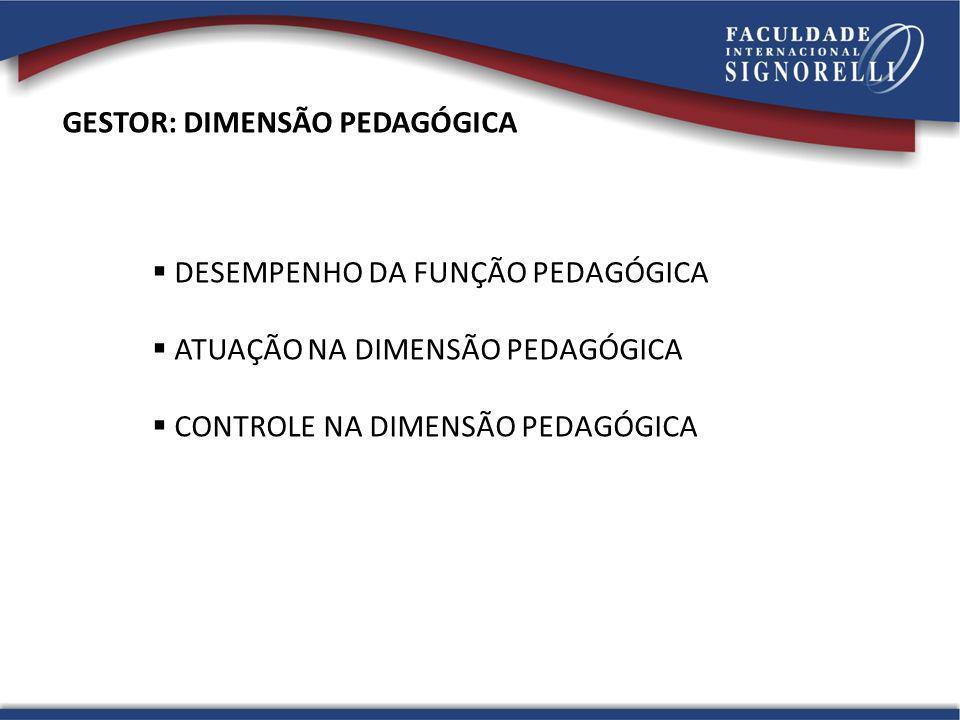 GESTOR: DIMENSÃO PEDAGÓGICA DESEMPENHO DA FUNÇÃO PEDAGÓGICA ATUAÇÃO NA DIMENSÃO PEDAGÓGICA CONTROLE NA DIMENSÃO PEDAGÓGICA