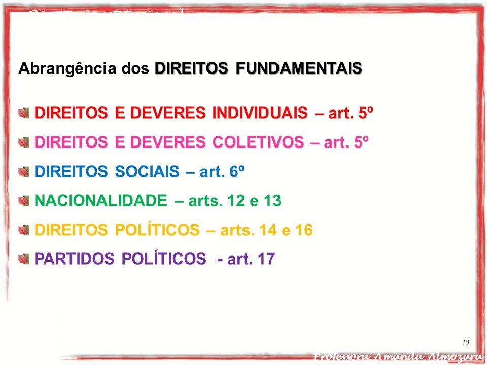 Direito Constitucional Professora Amanda Almozara 10 DIREITOS FUNDAMENTAIS Abrangência dos DIREITOS FUNDAMENTAIS DIREITOS E DEVERES INDIVIDUAIS – art.