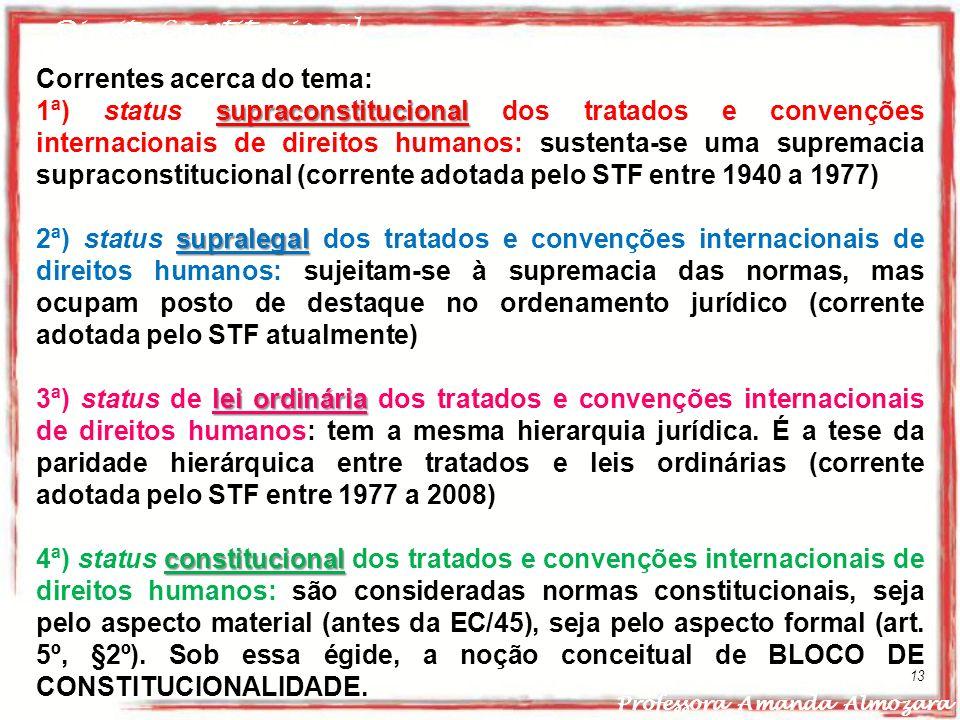 Direito Constitucional Professora Amanda Almozara 13 Correntes acerca do tema: supraconstitucional 1ª) status supraconstitucional dos tratados e conve