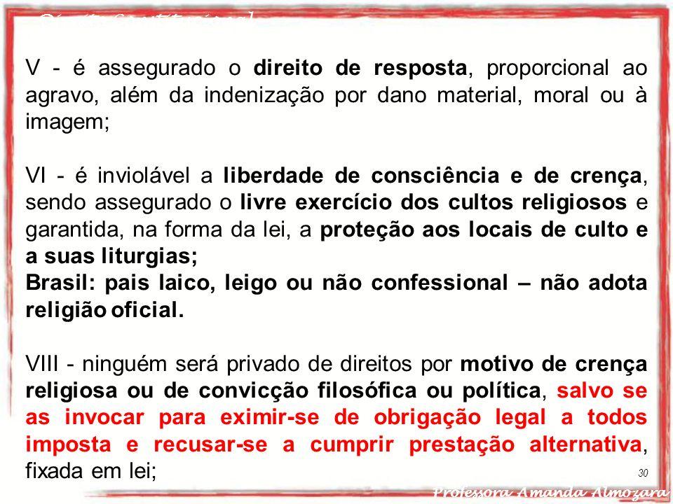 Direito Constitucional Professora Amanda Almozara 30 V - é assegurado o direito de resposta, proporcional ao agravo, além da indenização por dano mate