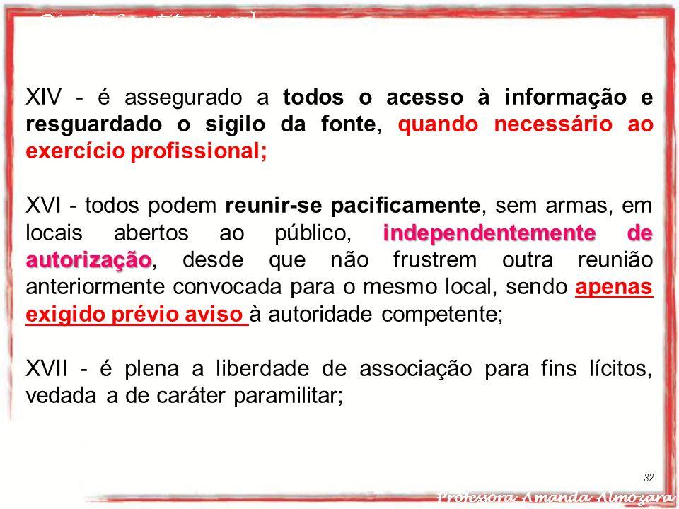 Direito Constitucional Professora Amanda Almozara 32 XIV - é assegurado a todos o acesso à informação e resguardado o sigilo da fonte, quando necessár