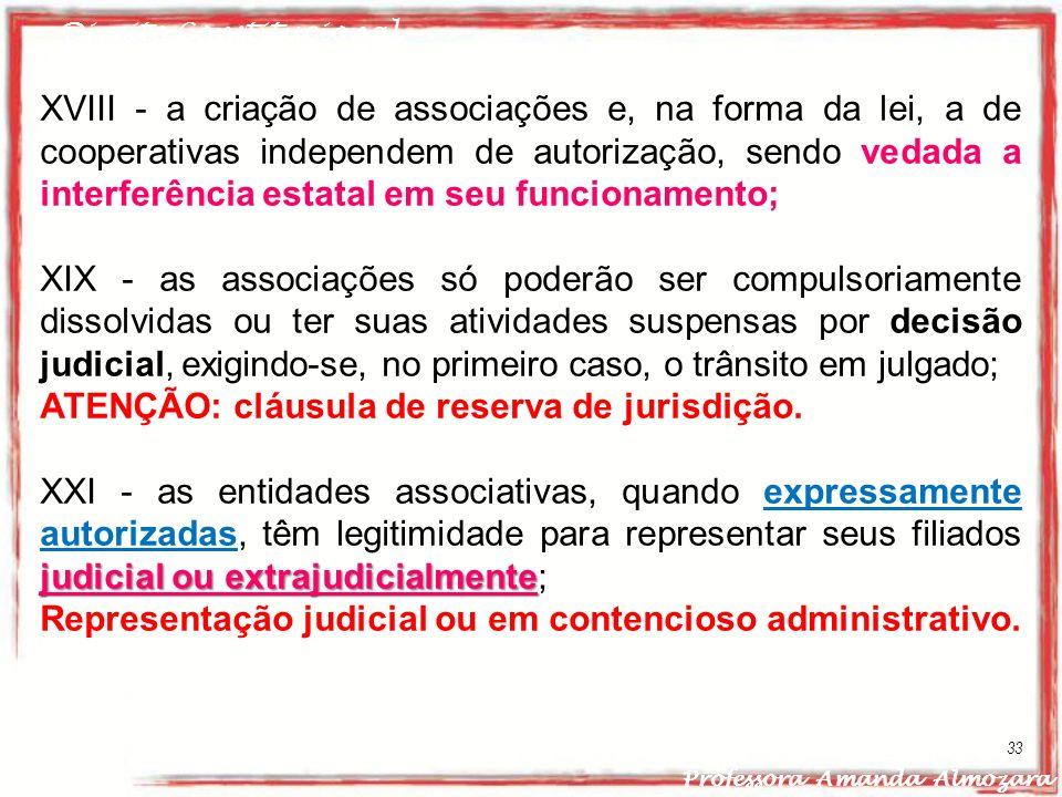 Direito Constitucional Professora Amanda Almozara 33 XVIII - a criação de associações e, na forma da lei, a de cooperativas independem de autorização,