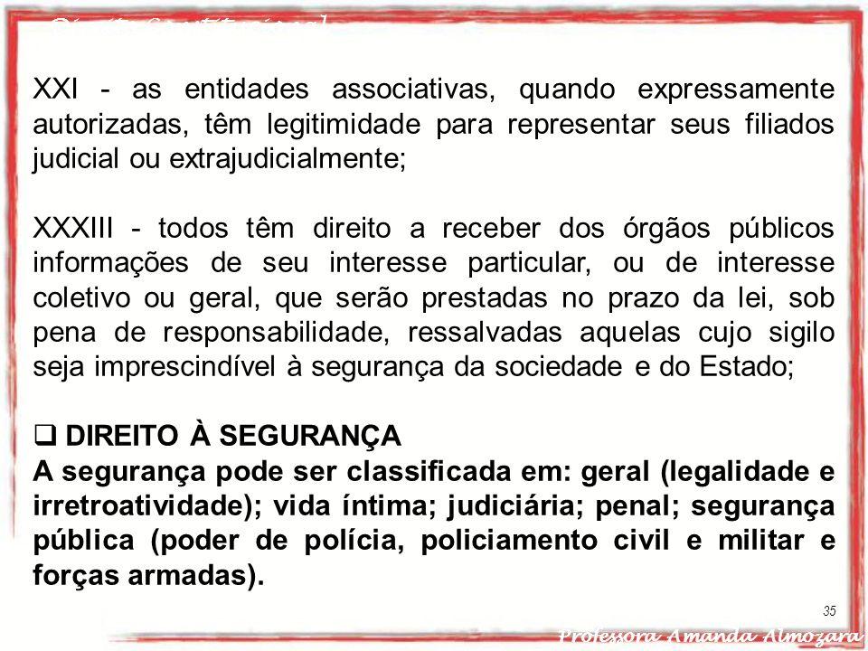 Direito Constitucional Professora Amanda Almozara 35 XXI - as entidades associativas, quando expressamente autorizadas, têm legitimidade para represen