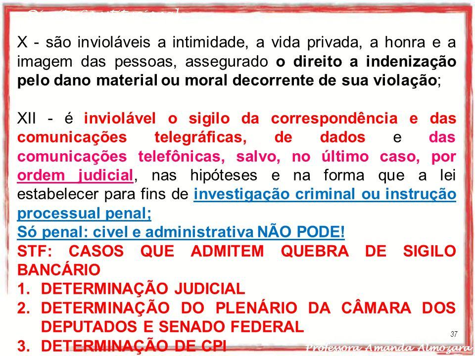 Direito Constitucional Professora Amanda Almozara 37 X - são invioláveis a intimidade, a vida privada, a honra e a imagem das pessoas, assegurado o di