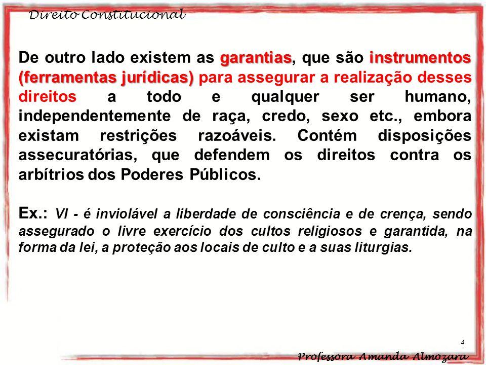 Direito Constitucional Professora Amanda Almozara 4 garantiasinstrumentos (ferramentas jurídicas) De outro lado existem as garantias, que são instrume