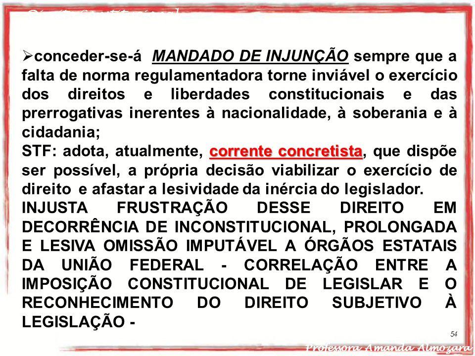 Direito Constitucional Professora Amanda Almozara 54 conceder-se-á MANDADO DE INJUNÇÃO sempre que a falta de norma regulamentadora torne inviável o ex