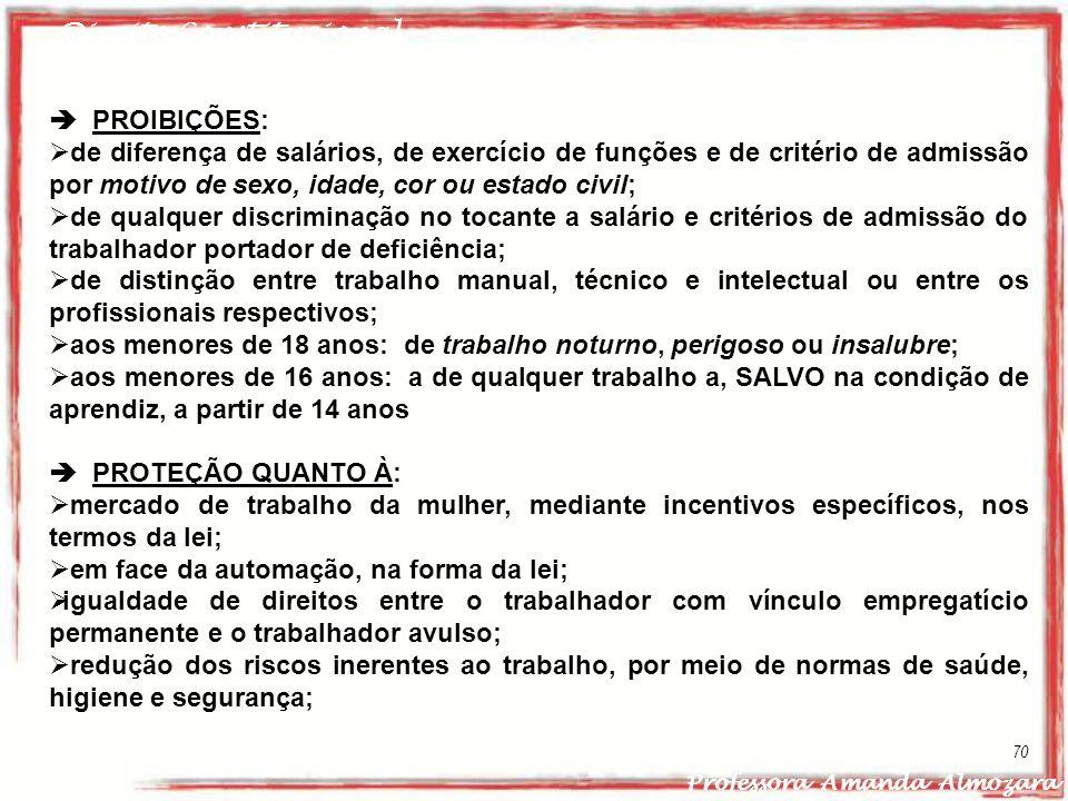 Direito Constitucional Professora Amanda Almozara 70 PROIBIÇÕES: de diferença de salários, de exercício de funções e de critério de admissão por motiv