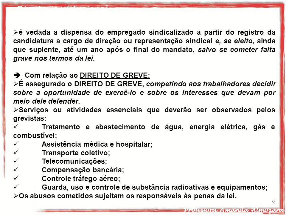 Direito Constitucional Professora Amanda Almozara 73 é vedada a dispensa do empregado sindicalizado a partir do registro da candidatura a cargo de dir