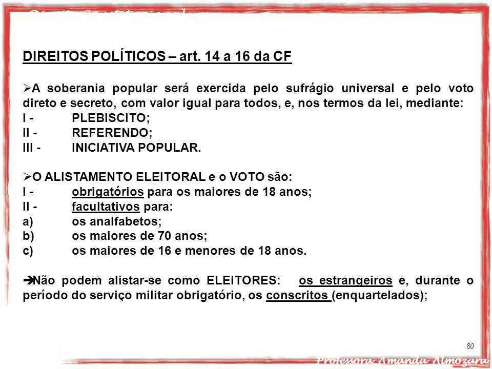 Direito Constitucional Professora Amanda Almozara 80 DIREITOS POLÍTICOS – art. 14 a 16 da CF A soberania popular será exercida pelo sufrágio universal