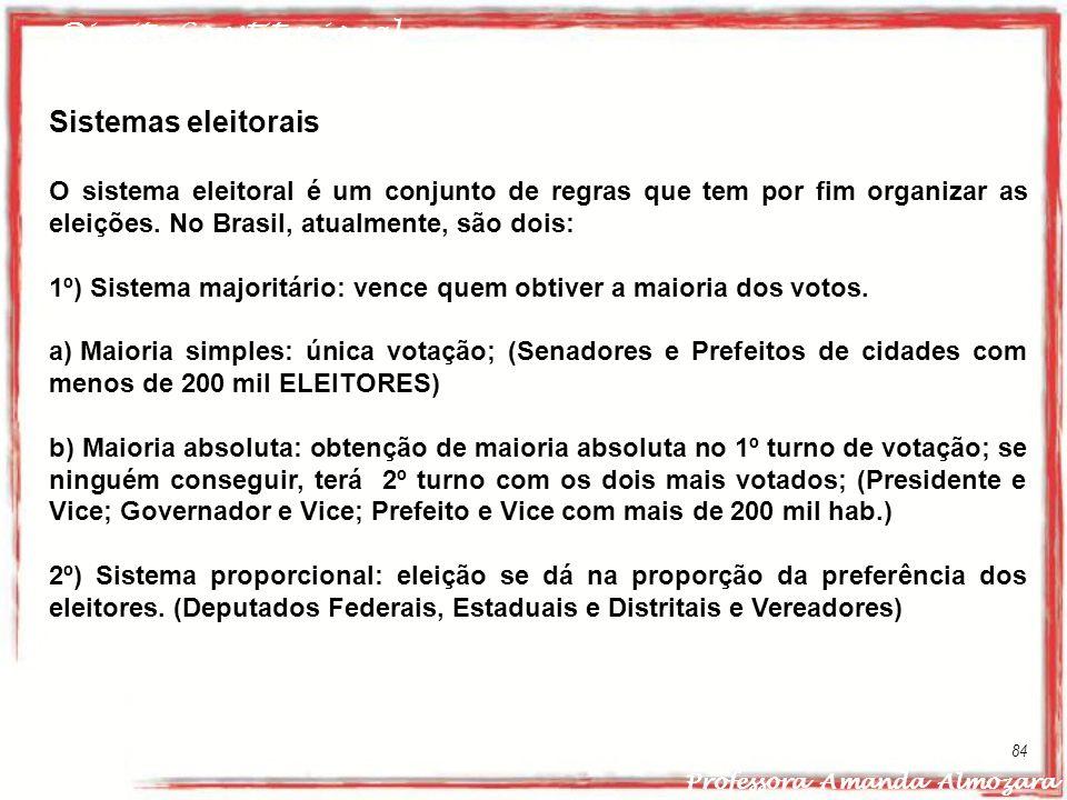 Direito Constitucional Professora Amanda Almozara 84 Sistemas eleitorais O sistema eleitoral é um conjunto de regras que tem por fim organizar as elei