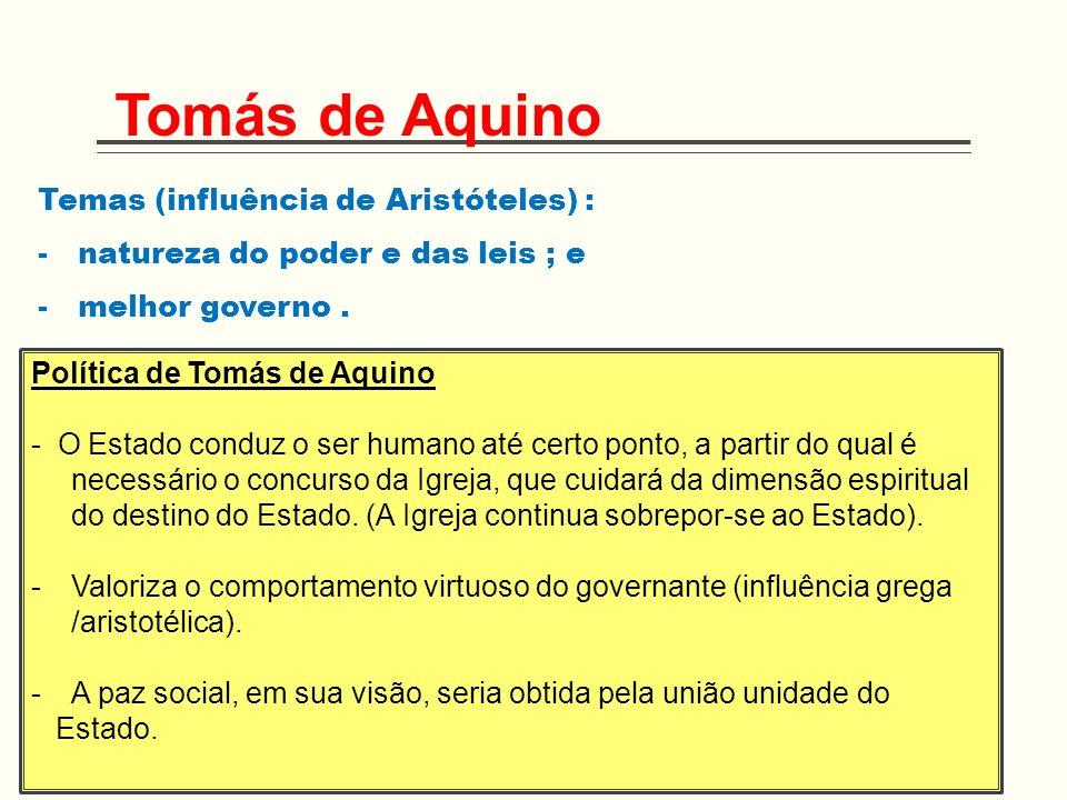 Temas (influência de Aristóteles) : -natureza do poder e das leis ; e -melhor governo. Tomás de Aquino Política de Tomás de Aquino - O Estado conduz o