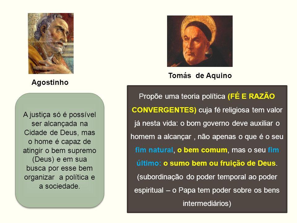 Agostinho Tomás de Aquino Propõe uma teoria política (FÉ E RAZÃO CONVERGENTES) cuja fé religiosa tem valor já nesta vida: o bom governo deve auxiliar
