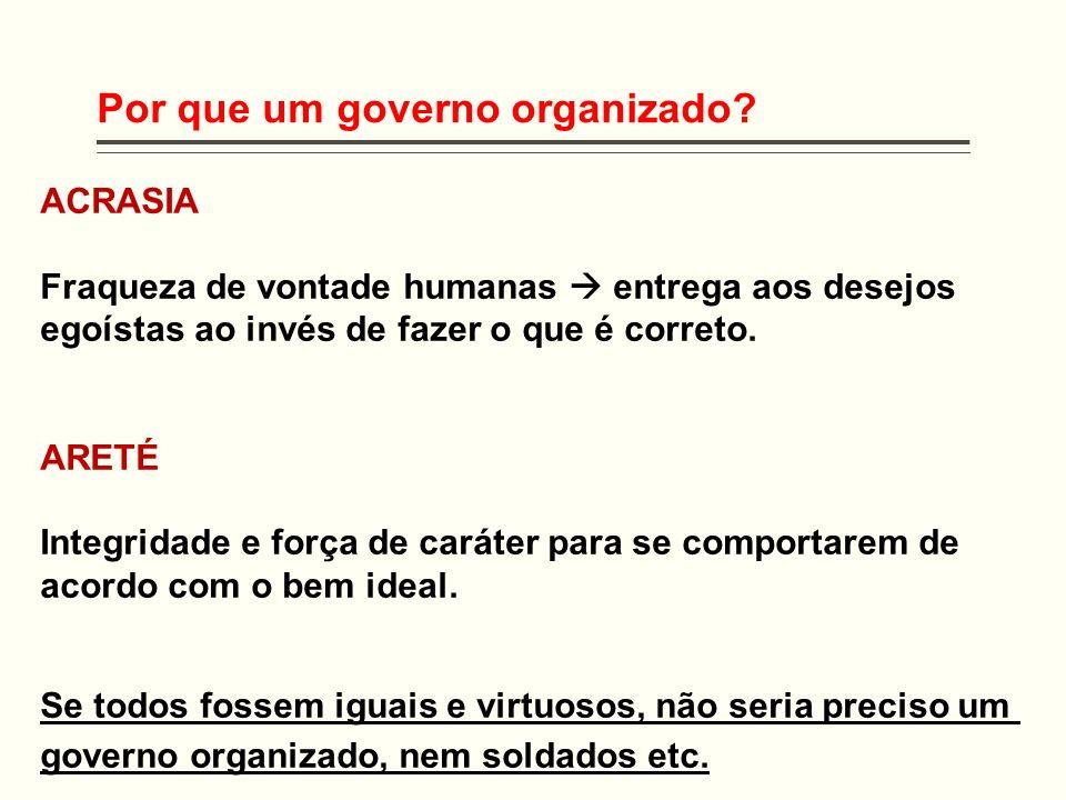 Por que um governo organizado? ACRASIA Fraqueza de vontade humanas entrega aos desejos egoístas ao invés de fazer o que é correto. ARETÉ Integridade e
