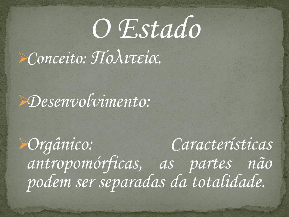 O Estado Conceito: Πολιτεία. Desenvolvimento: Orgânico: Características antropomórficas, as partes não podem ser separadas da totalidade.