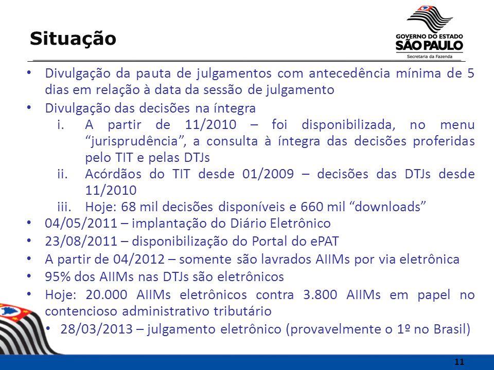 Divulgação da pauta de julgamentos com antecedência mínima de 5 dias em relação à data da sessão de julgamento Divulgação das decisões na íntegra i.A