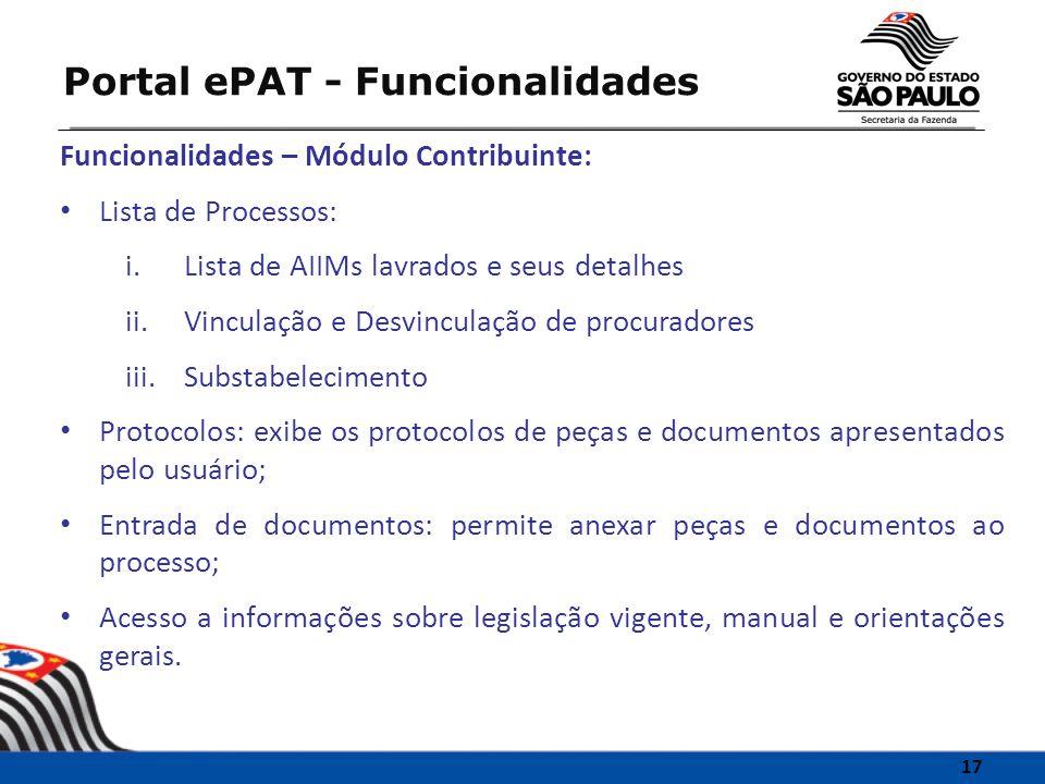 Funcionalidades – Módulo Contribuinte: Lista de Processos: i.Lista de AIIMs lavrados e seus detalhes ii.Vinculação e Desvinculação de procuradores iii