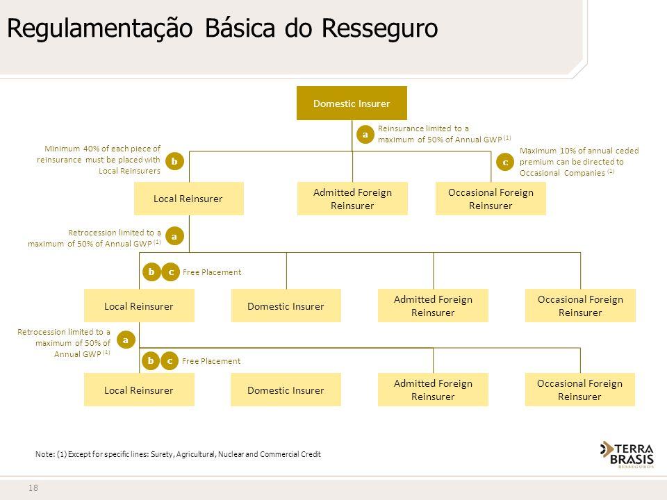 Regulamentação Básica do Resseguro 18 Domestic Insurer Local Reinsurer Admitted Foreign Reinsurer Occasional Foreign Reinsurer Local ReinsurerDomestic