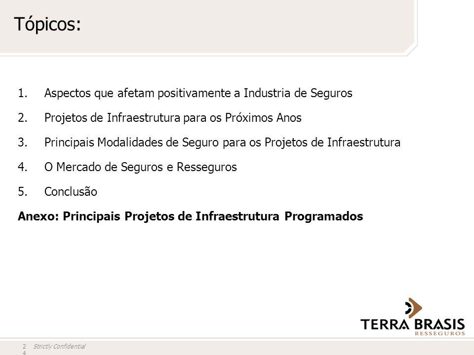 Strictly Confidential Tópicos: 24 1.Aspectos que afetam positivamente a Industria de Seguros 2.Projetos de Infraestrutura para os Próximos Anos 3.Prin