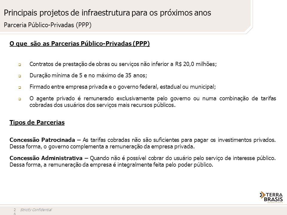Strictly Confidential Principais projetos de infraestrutura para os próximos anos O que são as Parcerias Público-Privadas (PPP) Contratos de prestação