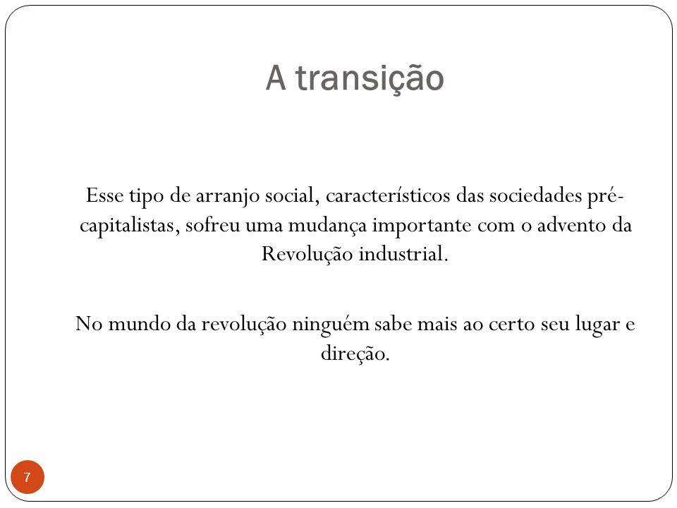 A transição Esse tipo de arranjo social, característicos das sociedades pré- capitalistas, sofreu uma mudança importante com o advento da Revolução in