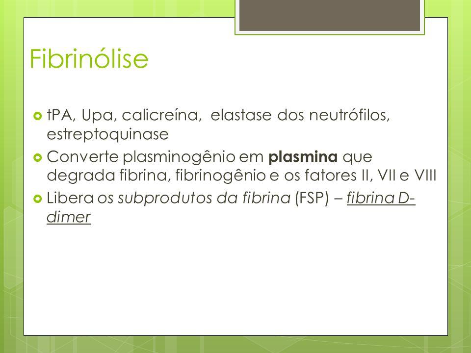 Fibrinólise tPA, Upa, calicreína, elastase dos neutrófilos, estreptoquinase Converte plasminogênio em plasmina que degrada fibrina, fibrinogênio e os
