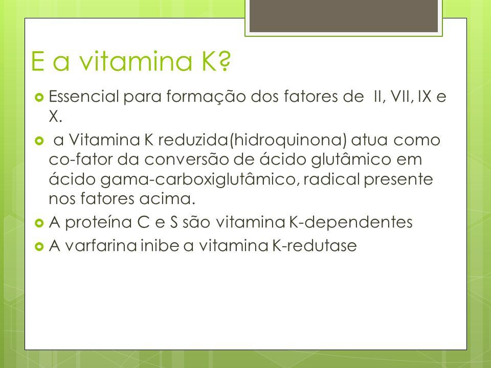 E a vitamina K? Essencial para formação dos fatores de II, VII, IX e X. a Vitamina K reduzida(hidroquinona) atua como co-fator da conversão de ácido g