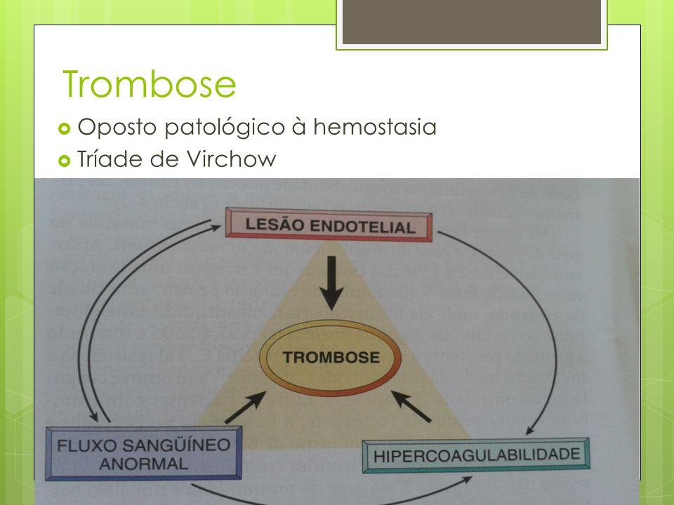 Trombose Oposto patológico à hemostasia Tríade de Virchow