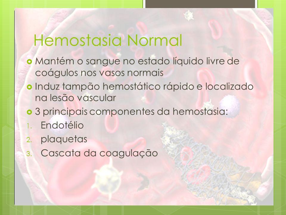 Hemostasia Normal Mantém o sangue no estado líquido livre de coágulos nos vasos normais Induz tampão hemostático rápido e localizado na lesão vascular
