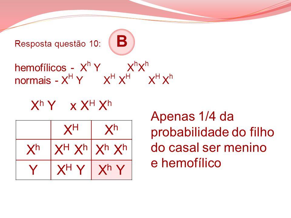 Resposta questão 10: B hemofílicos - X h Y X h X h normais - X H Y X H X H X H X h X h Y x X H X h XHXH XhXh XhXh X H X h X h YX H YX h Y Apenas 1/4 d