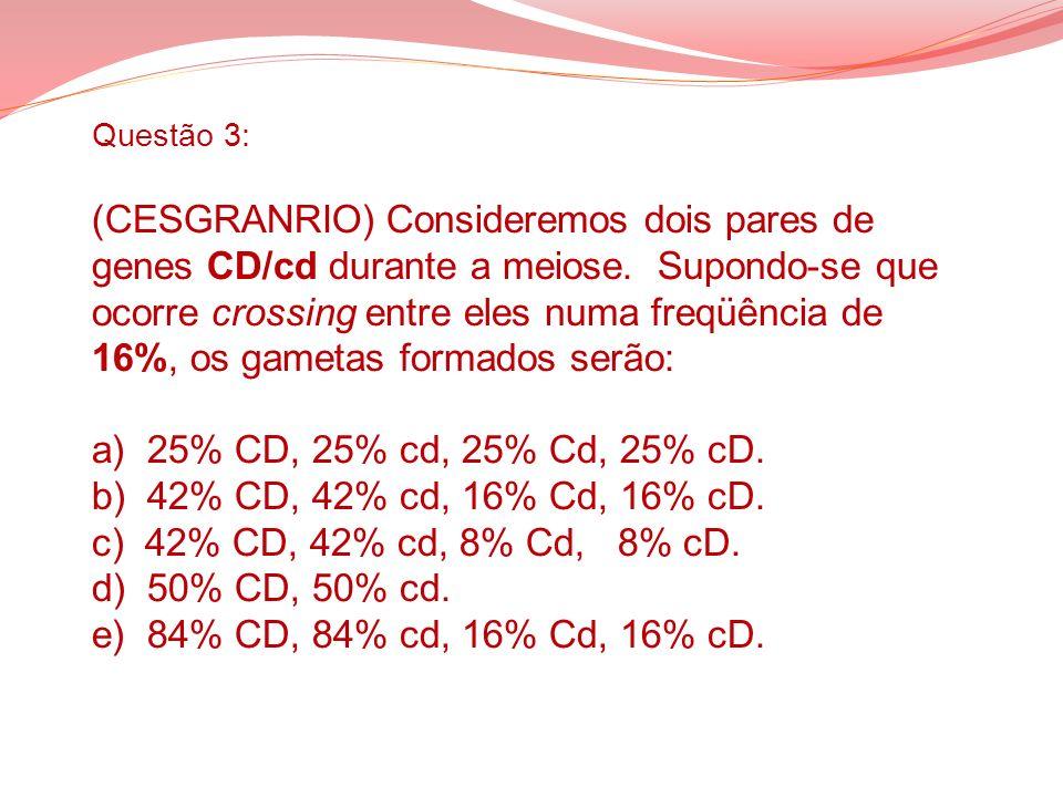 Questão 3: (CESGRANRIO) Consideremos dois pares de genes CD/cd durante a meiose. Supondo-se que ocorre crossing entre eles numa freqüência de 16%, os