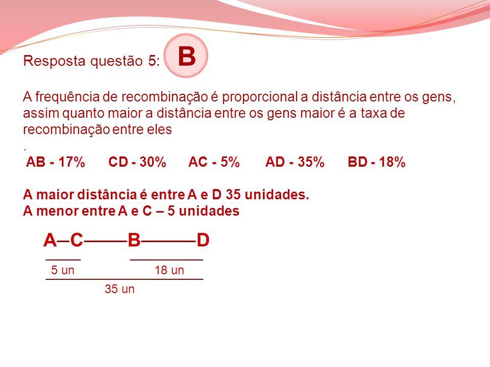 Resposta questão 5: B A frequência de recombinação é proporcional a distância entre os gens, assim quanto maior a distância entre os gens maior é a ta