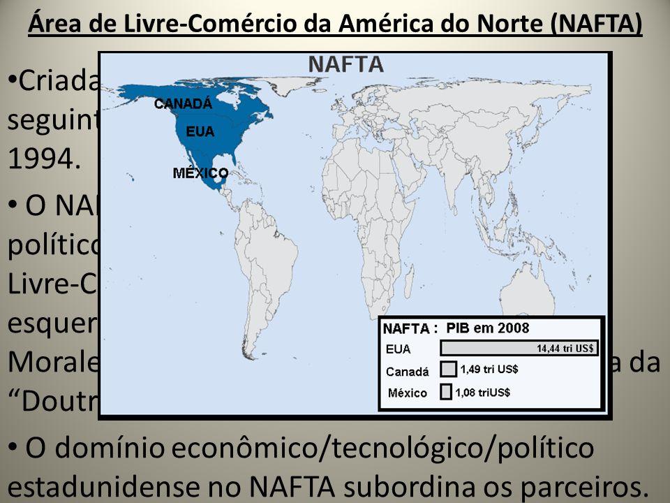 Área de Livre-Comércio da América do Norte (NAFTA) Criada em 1992 pelos EUA e Canadá; no ano seguinte a adesão do México e tem início em 1994. O NAFTA