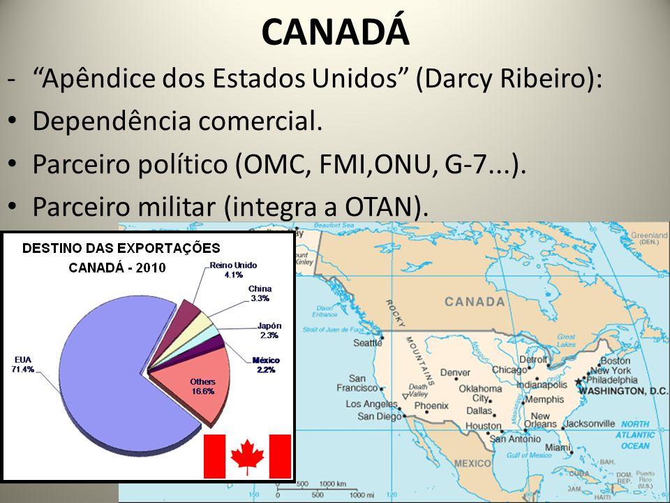 CANADÁ -Apêndice dos Estados Unidos (Darcy Ribeiro): Dependência comercial. Parceiro político (OMC, FMI,ONU, G-7...). Parceiro militar (integra a OTAN
