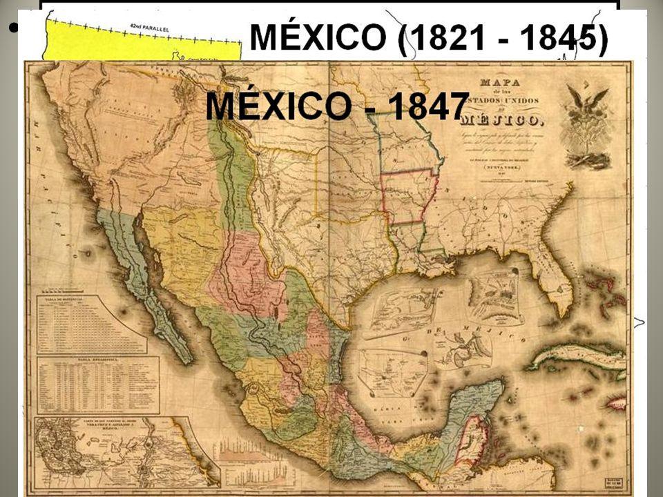 1845 anexação do Texas sob guerra: expansionismo territorial e econômico estadunidense pós- independência em 1777 (aquisição de terras, recursos naturais, formação de mercados consumidores) e justificativa ideológica através do Destino Manifesto.