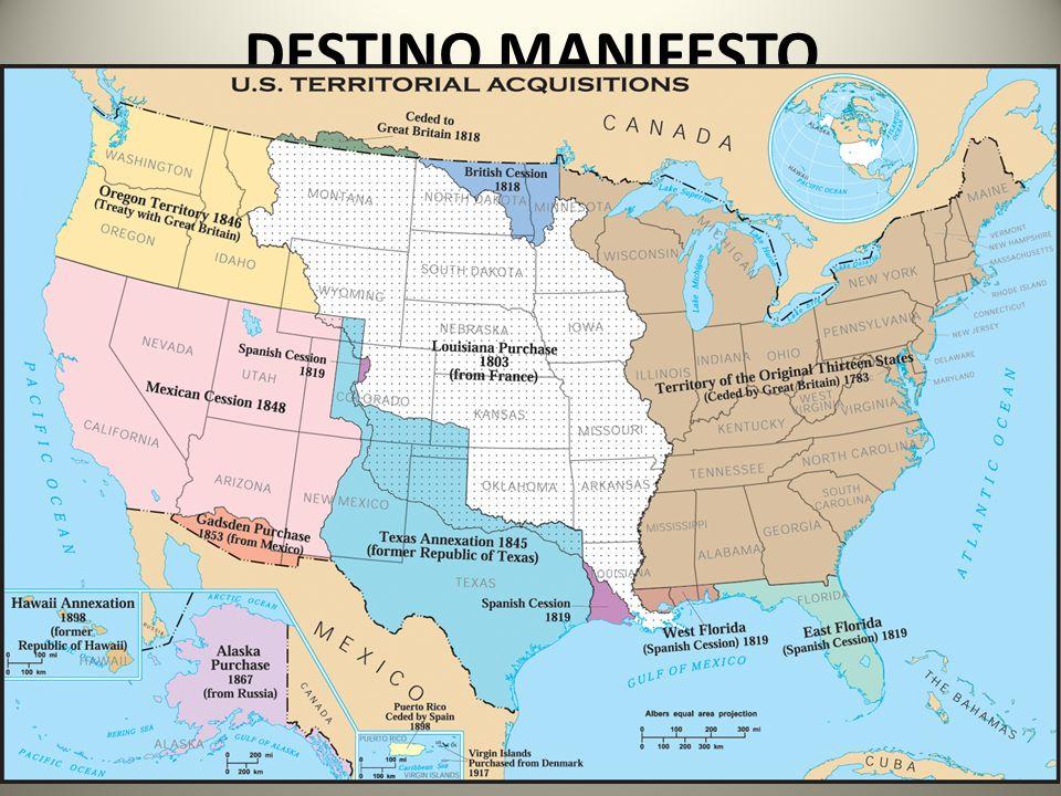 DESTINO MANIFESTO Doutrina cristã puritana em os colonos dos EUA seriam o povo eleito por Deus para desenvolver a nação a ser o modelo no mundo! O Des