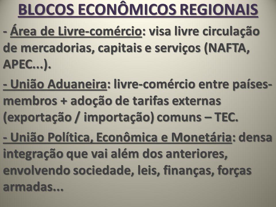 BLOCOS ECONÔMICOS REGIONAIS - Área de Livre-comércio: visa livre circulação de mercadorias, capitais e serviços (NAFTA, APEC...). - União Aduaneira: l