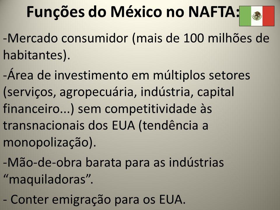 Funções do México no NAFTA: -Mercado consumidor (mais de 100 milhões de habitantes). -Área de investimento em múltiplos setores (serviços, agropecuári