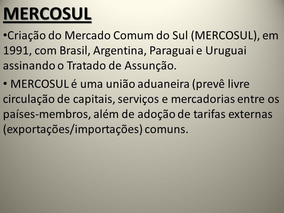 MERCOSUL Criação do Mercado Comum do Sul (MERCOSUL), em 1991, com Brasil, Argentina, Paraguai e Uruguai assinando o Tratado de Assunção. MERCOSUL é um