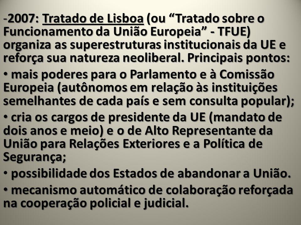 -2007: Tratado de Lisboa(ou Tratado sobre o Funcionamento da União Europeia - TFUE) organiza as superestruturas institucionais da UE e reforça sua nat