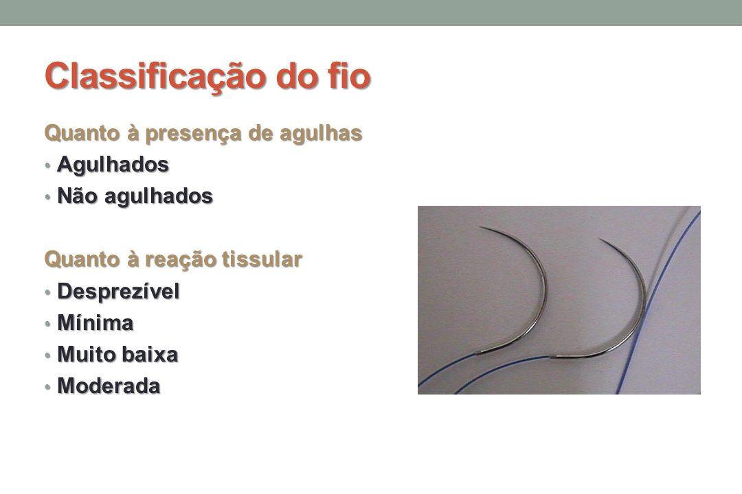 Classificação do fio Quanto à presença de agulhas Agulhados Agulhados Não agulhados Não agulhados Quanto à reação tissular Desprezível Desprezível Mínima Mínima Muito baixa Muito baixa Moderada Moderada