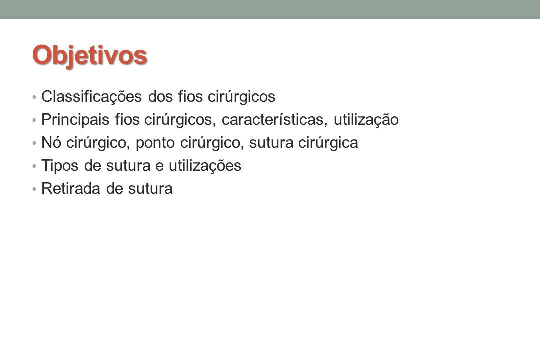 Objetivos Classificações dos fios cirúrgicos Principais fios cirúrgicos, características, utilização Nó cirúrgico, ponto cirúrgico, sutura cirúrgica Tipos de sutura e utilizações Retirada de sutura