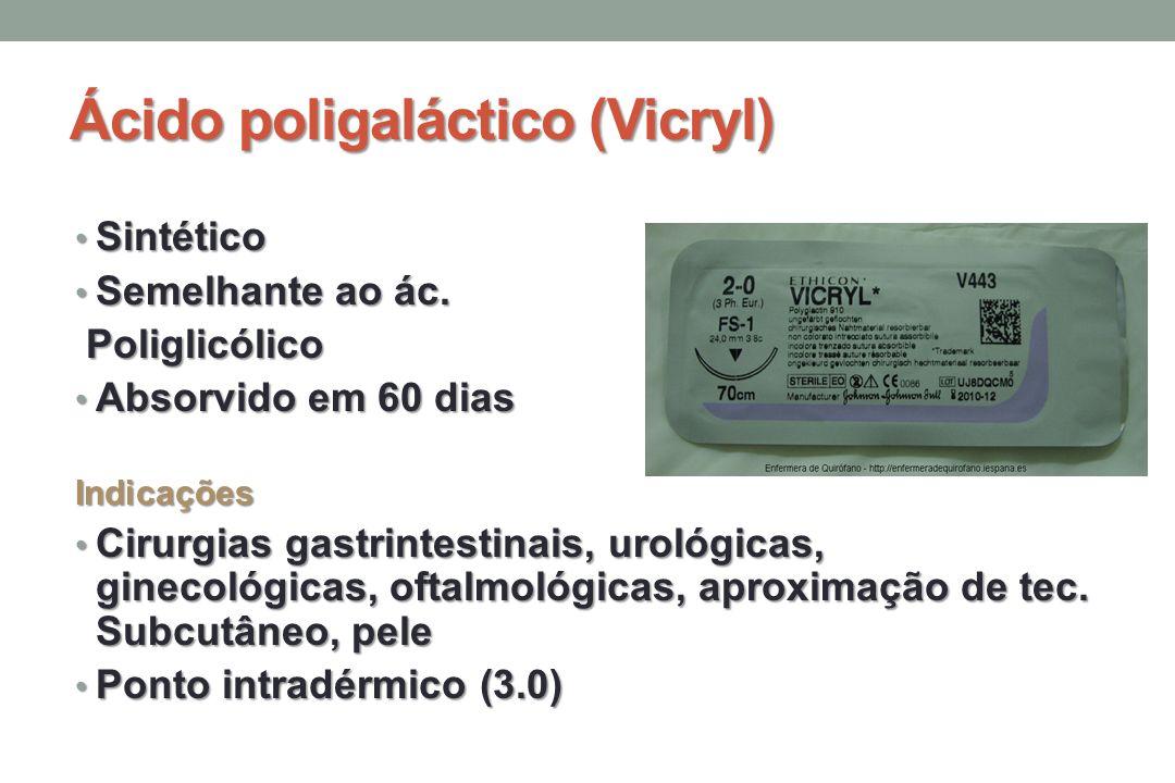 Ácido poligaláctico (Vicryl) Sintético Sintético Semelhante ao ác.