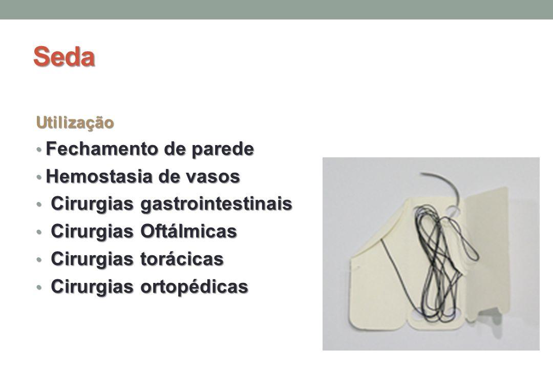 Seda Utilização Fechamento de parede Fechamento de parede Hemostasia de vasos Hemostasia de vasos Cirurgias gastrointestinais Cirurgias gastrointestinais Cirurgias Oftálmicas Cirurgias Oftálmicas Cirurgias torácicas Cirurgias torácicas Cirurgias ortopédicas Cirurgias ortopédicas