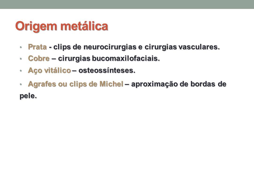 Origem metálica Prata - clips de neurocirurgias e cirurgias vasculares.