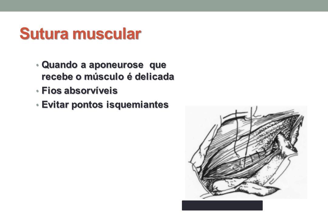 Sutura muscular Quando a aponeurose que recebe o músculo é delicada Quando a aponeurose que recebe o músculo é delicada Fios absorvíveis Fios absorvíveis Evitar pontos isquemiantes Evitar pontos isquemiantes